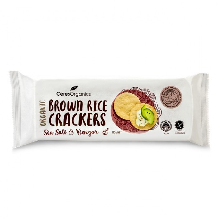 Organic Brown Rice Crackers, Sea Salt & Vinegar 115g image
